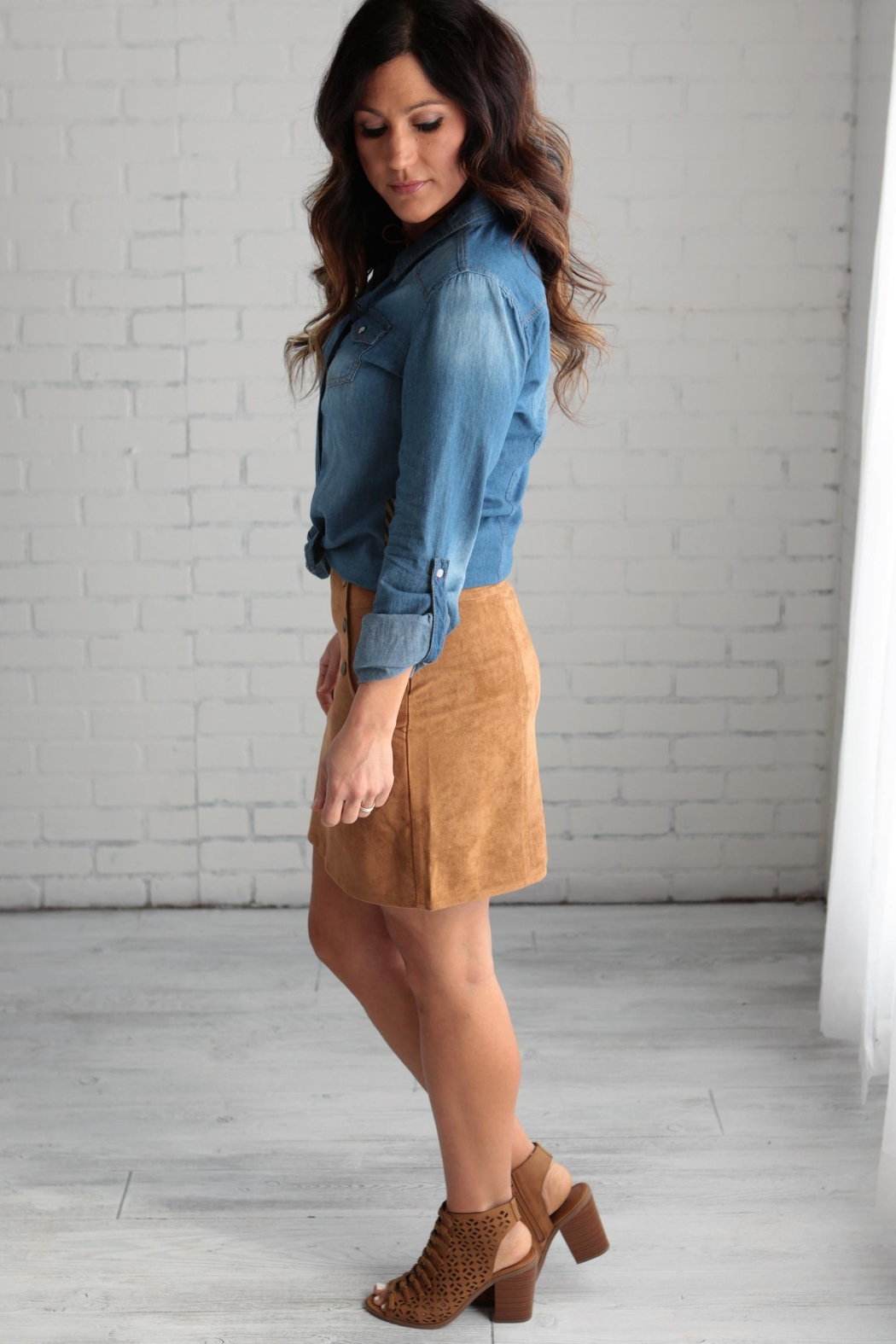 crescent Suede Skirt - Front Full Image