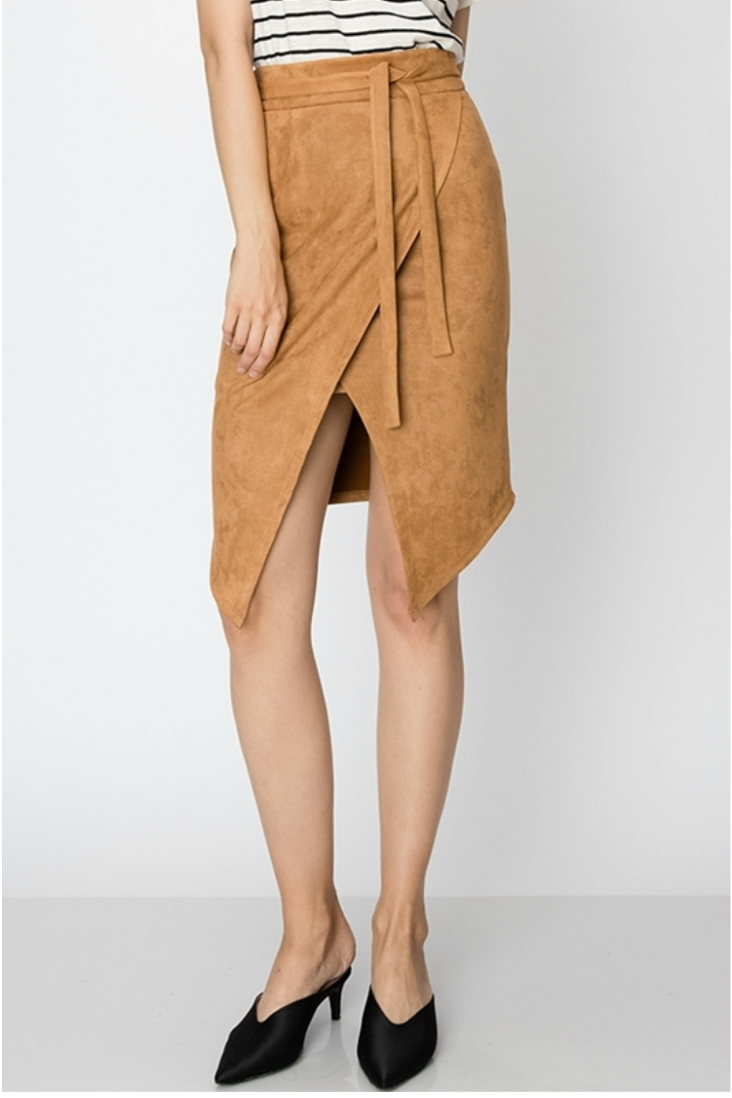 HYFVE SUEDE SKIRT WITH WAIST TIE AND FRONT SLIT - Main Image