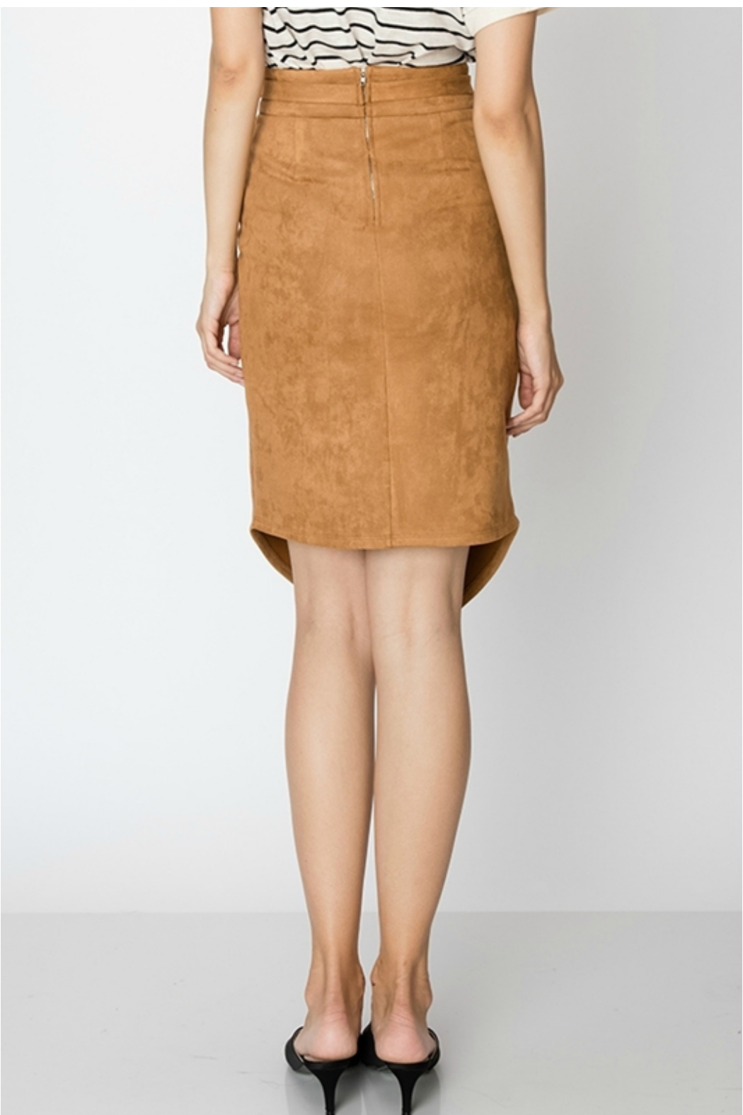 HYFVE SUEDE SKIRT WITH WAIST TIE AND FRONT SLIT - Front Full Image