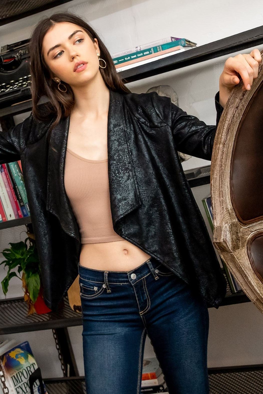 Thml Suede Snake Print Cardigan - Side Cropped Image