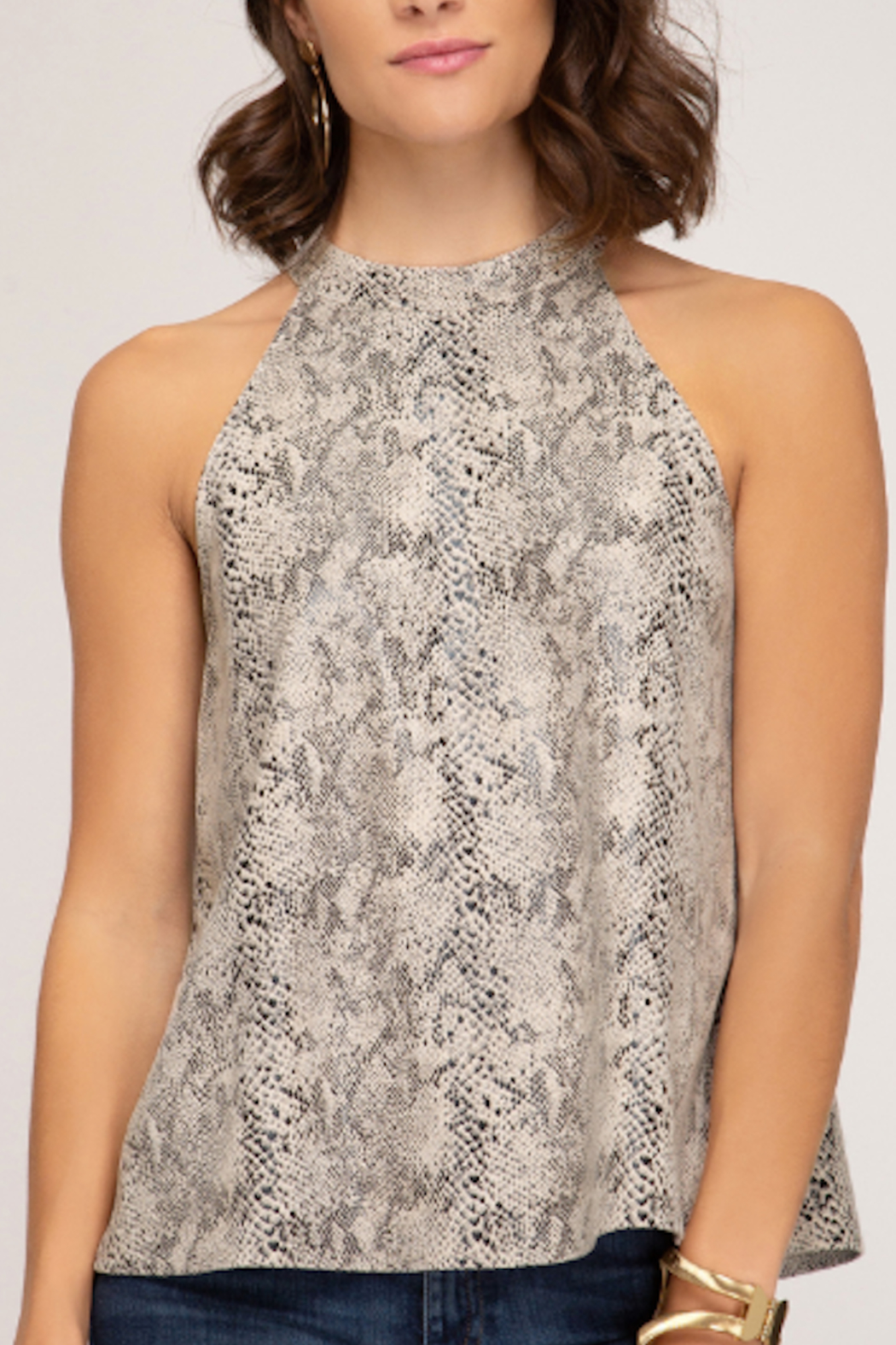 She and Sky Suede Snakeskin Halter - Front Cropped Image