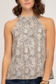 She and Sky Suede Snakeskin Halter - Front cropped