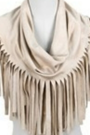 Tiny House of Fashion Suede Tassel Scarf-Beige - Product Mini Image