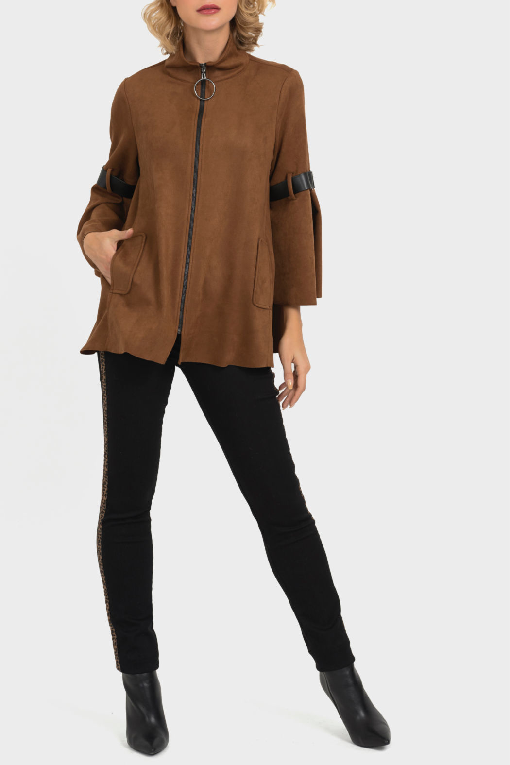 Joseph Ribkoff USA Inc. Suede Zipper Front Jacket - Front Cropped Image