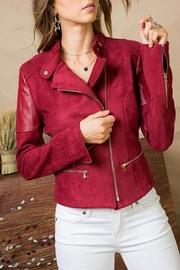 Main Strip Suede Zipper-Front Moto-Jacket - Product Mini Image