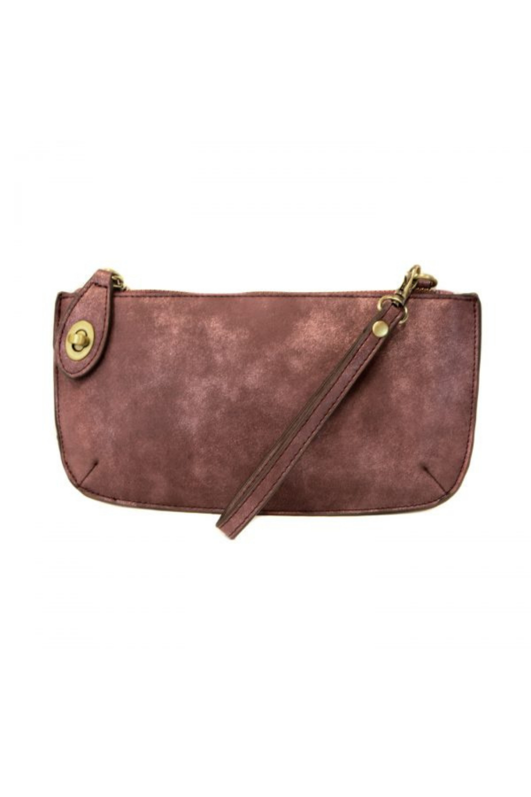 Joy Accessories Sueded Lux Crossbody Wristlet Clutch - Front Cropped Image