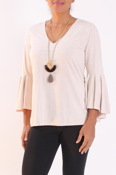 Talk of the Walk Sueded Statement-Sleeve Top - Product List Image