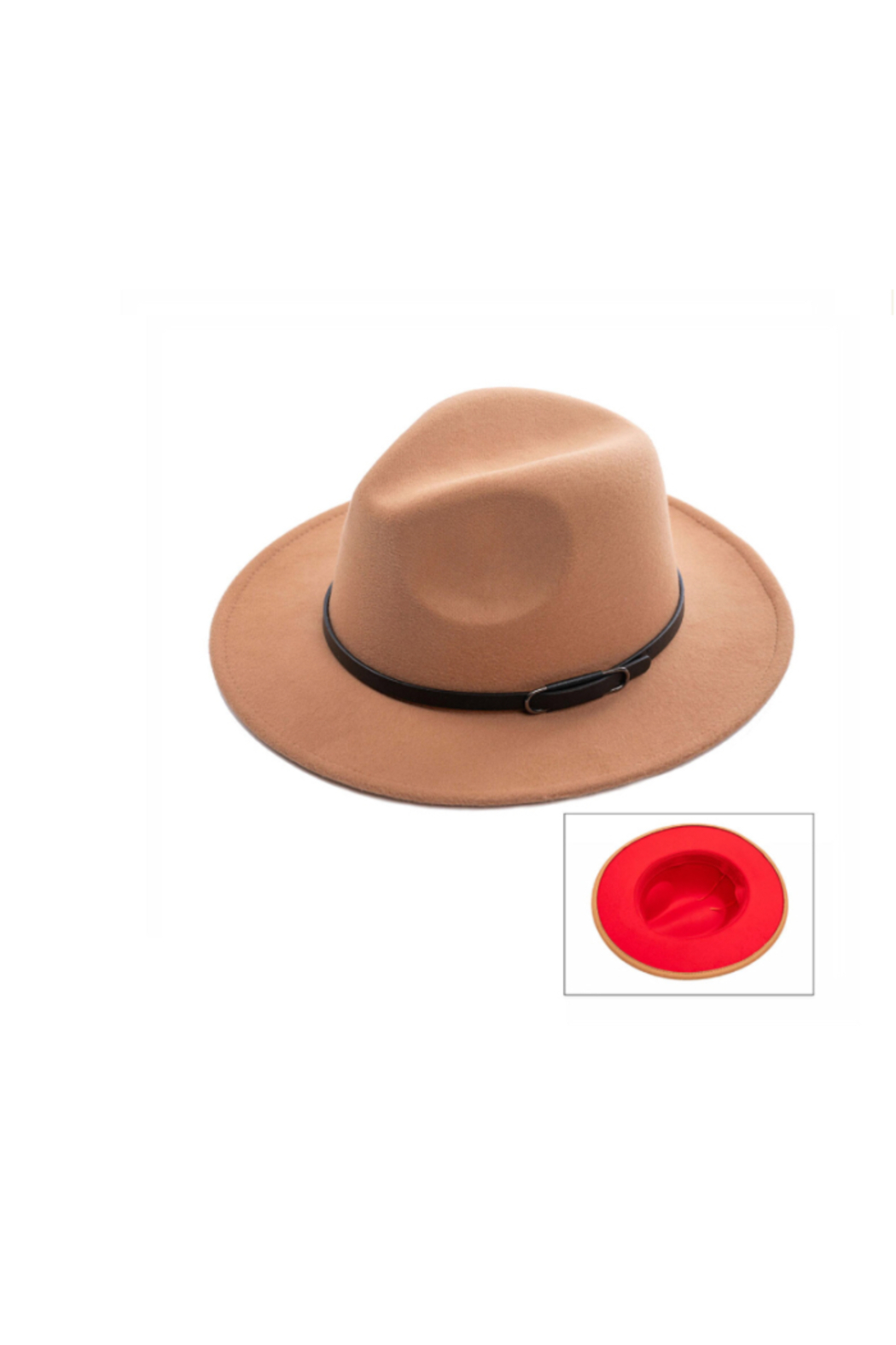 Wona Trading Suedette Belted Hat - Front Cropped Image