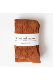 Little Stocking Co Sugar Almond Cable Knit Tights - Product Mini Image