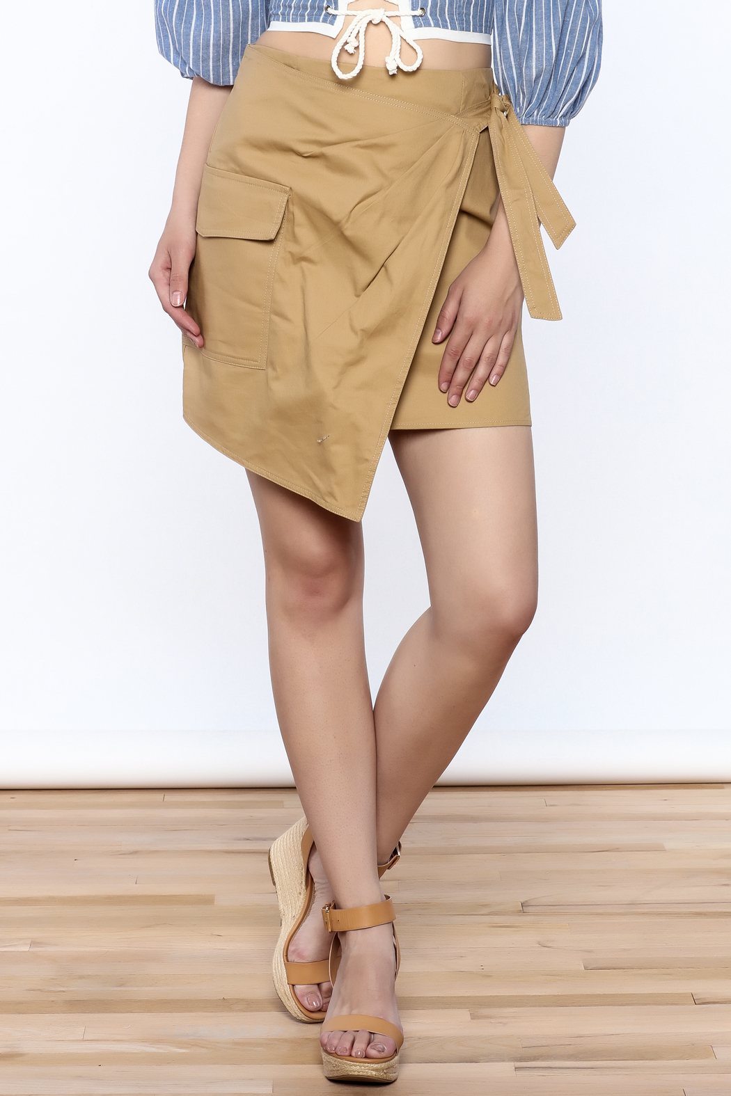 Sugar Lips Cargo Wrap Skirt - Front Cropped Image
