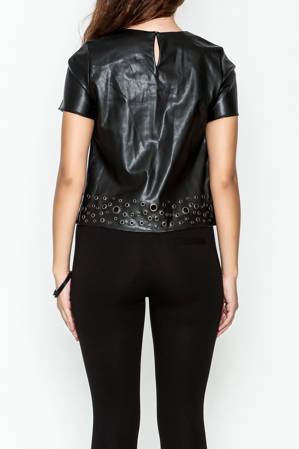 Sugar Lips Faux Leather Top - Back Cropped Image