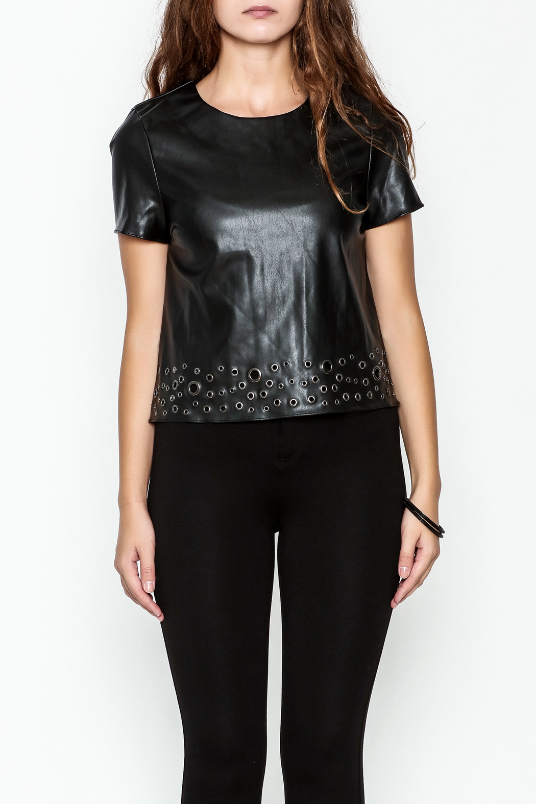 Sugar Lips Faux Leather Top - Front Full Image