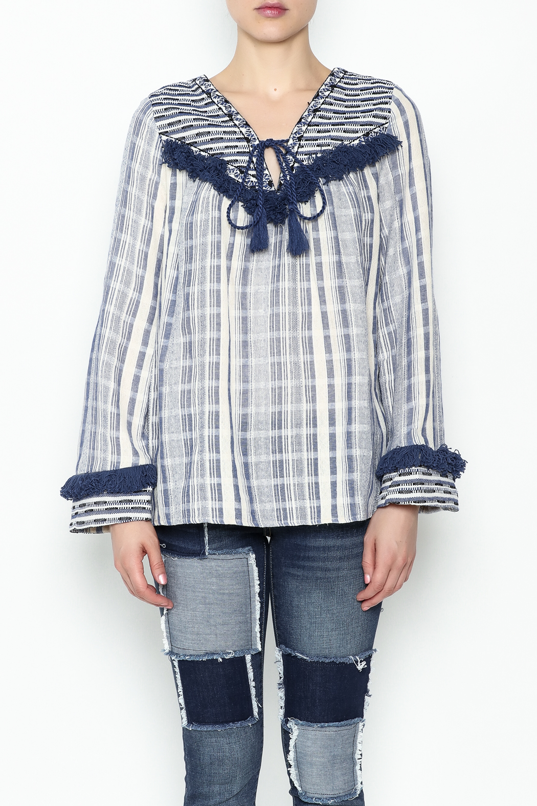 Sugar Lips Margot Stripe Knit Top - Front Full Image