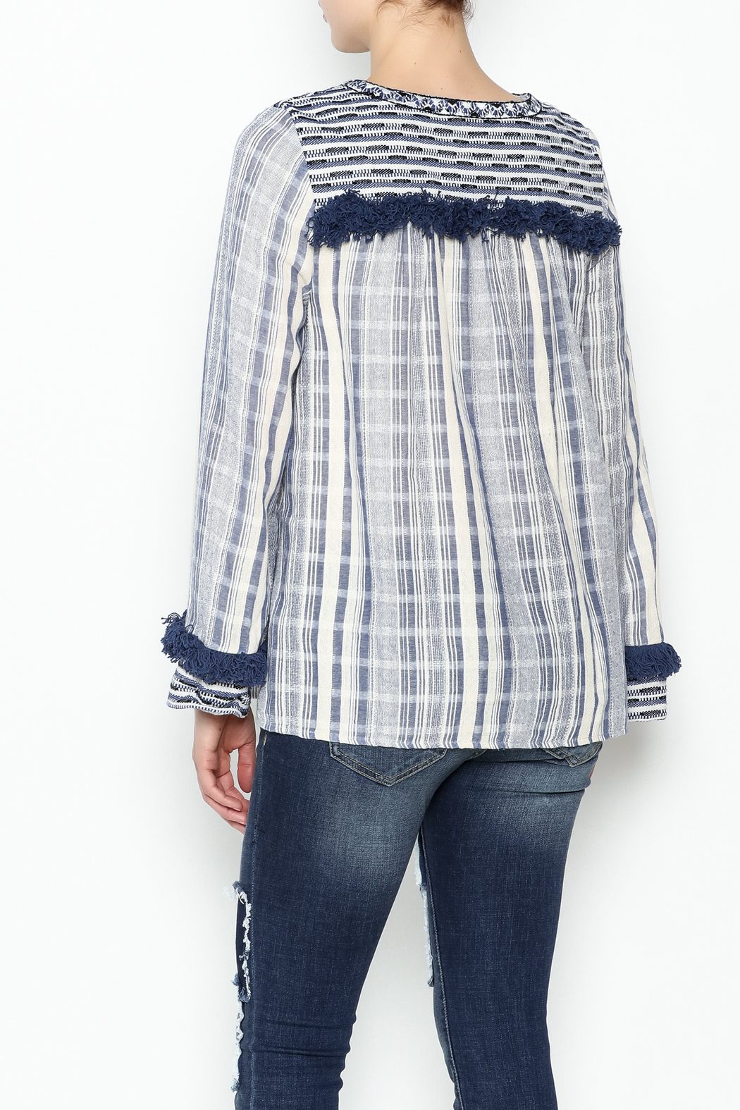 Sugar Lips Margot Stripe Knit Top - Back Cropped Image