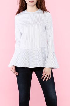 Sugar Lips White Pinstripe Blouse - Product List Image
