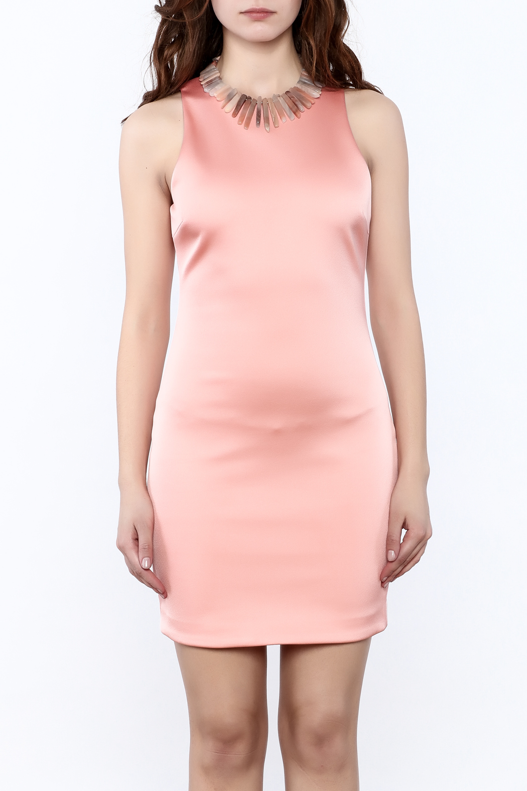 Sugar Lips Salmon Bodycon Dress - Side Cropped Image