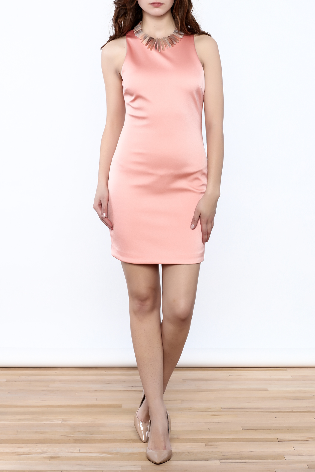 Sugar Lips Salmon Bodycon Dress - Front Full Image