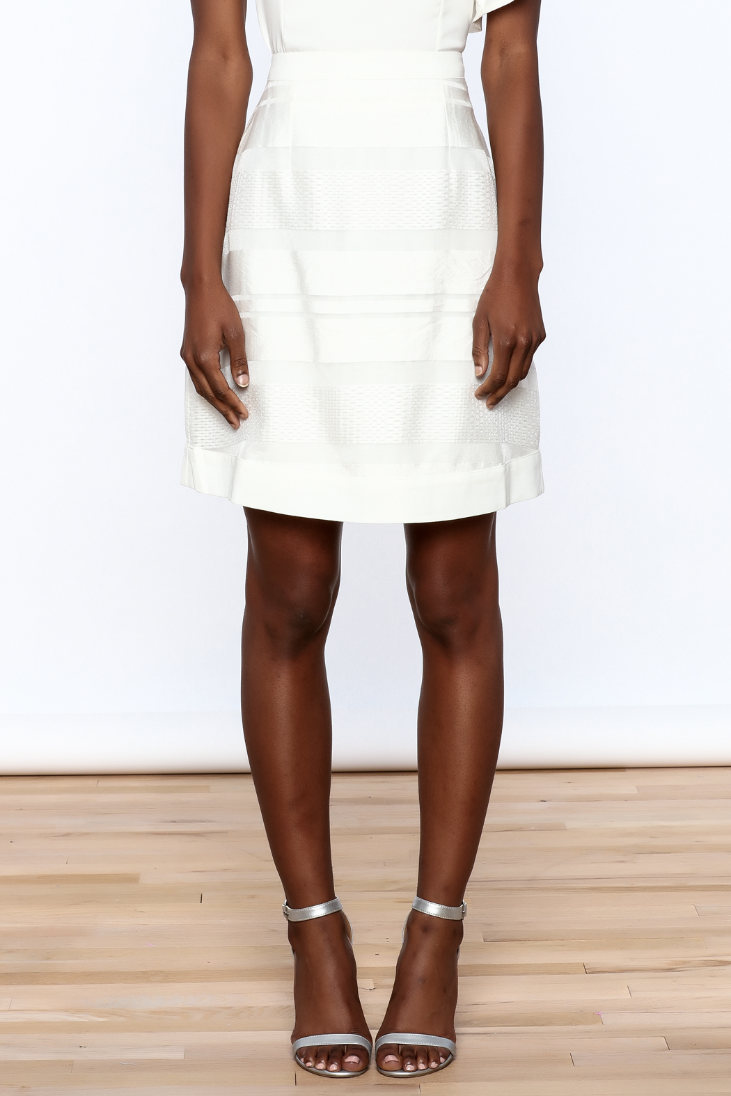 Sugar Lips White Stripes Skirt - Side Cropped Image