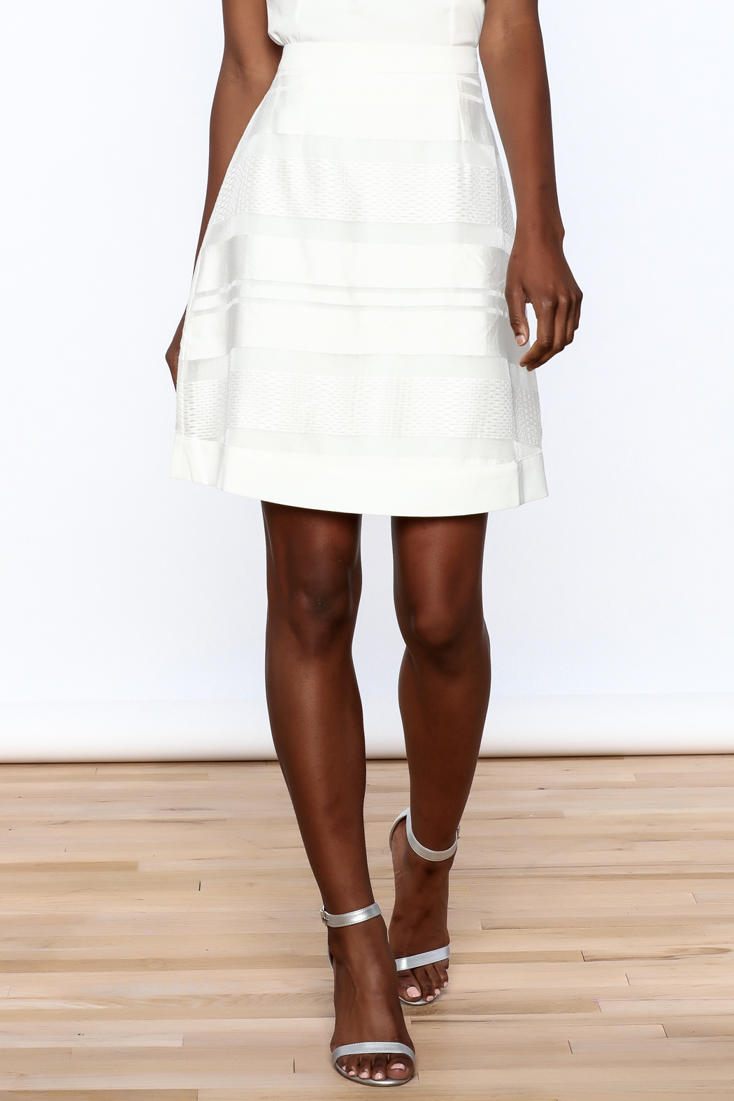Sugar Lips White Stripes Skirt - Front Cropped Image