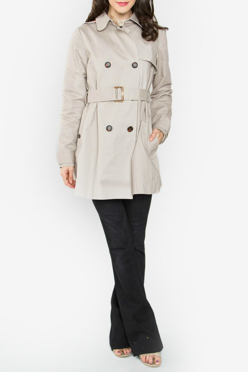 Sugar Lips Beige Trench Coat - Back Cropped Image