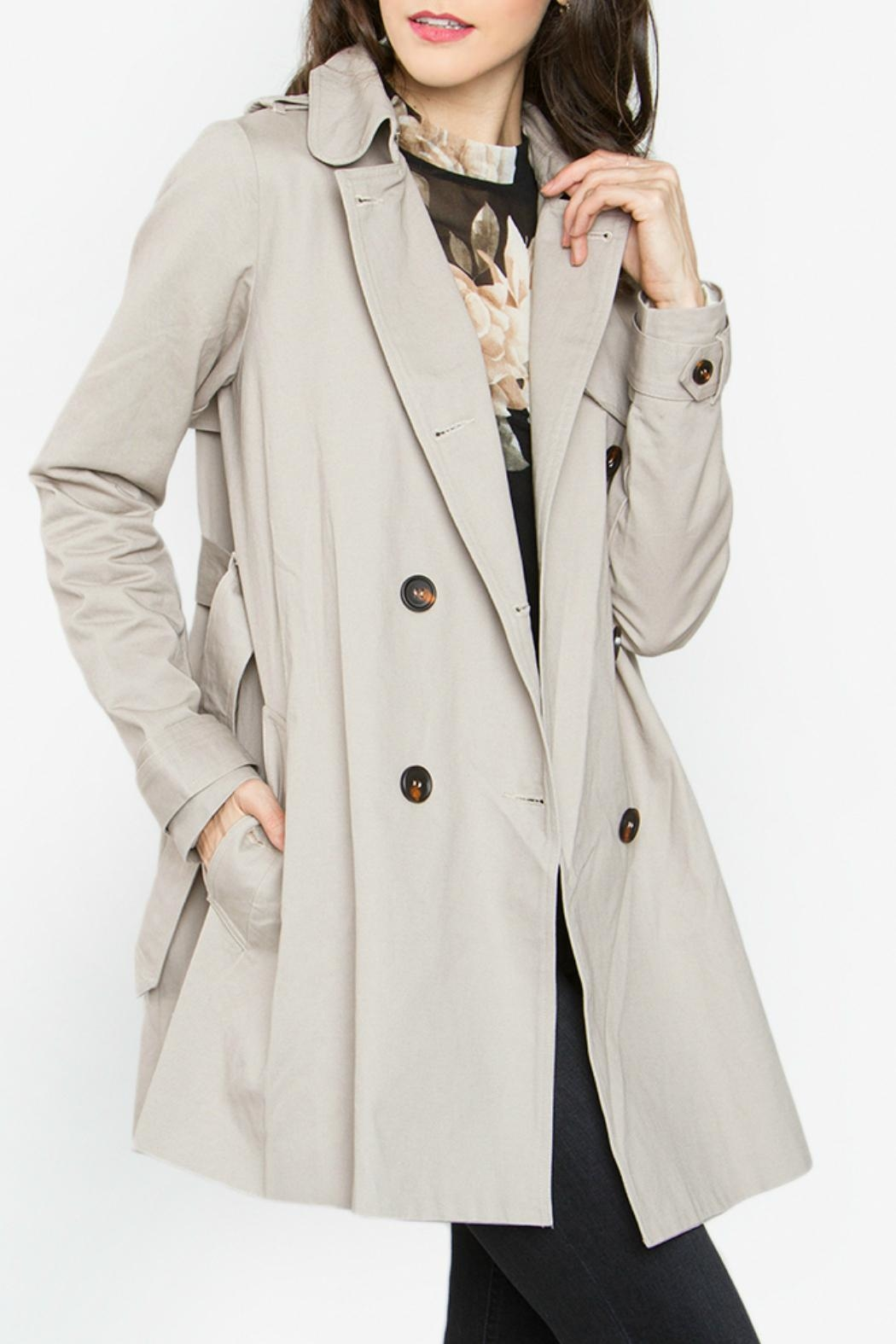 Sugar Lips Beige Trench Coat - Front Full Image