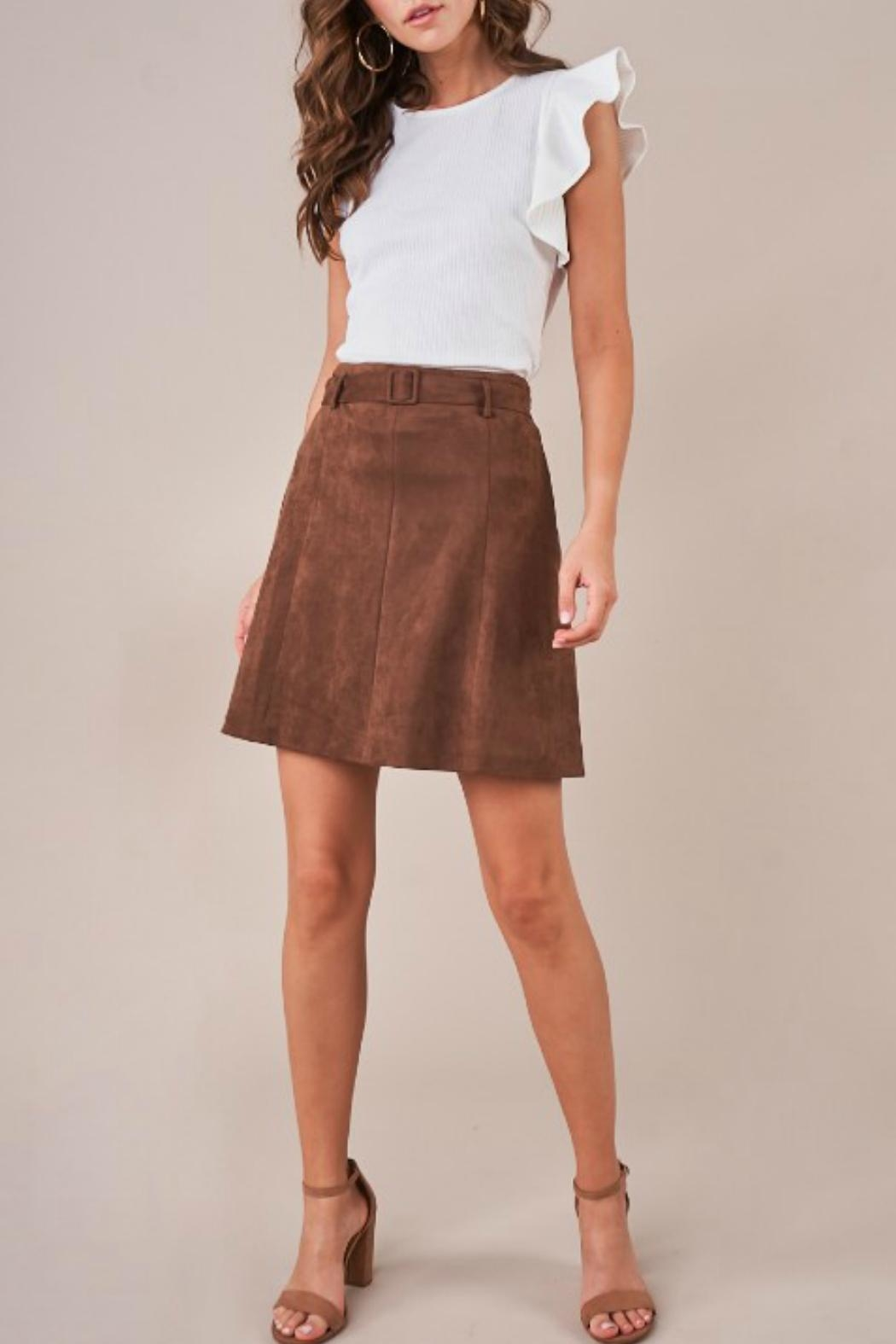 Sugar Lips Belted Faux-Suede Skirt - Main Image