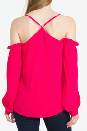 Sugar Lips Berry Cold-Shoulder Top - Front full body