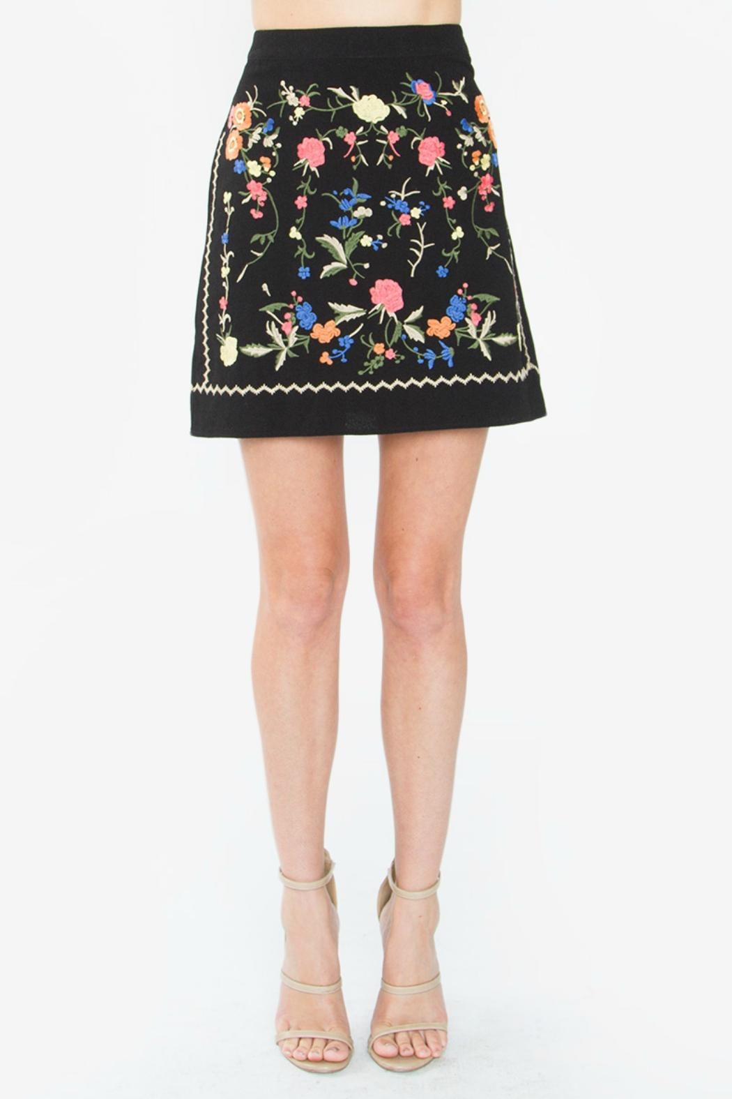 Sugar Lips Black Embroidered Skirt - Front Cropped Image