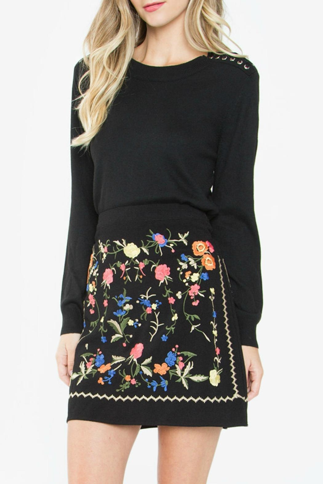 Sugar Lips Black Embroidered Skirt - Side Cropped Image