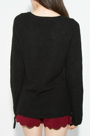 Sugar Lips Black Lace-Up Sweater - Side cropped