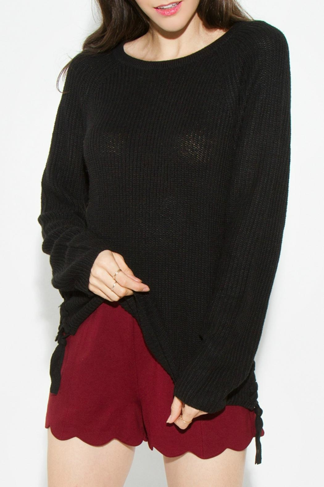 Sugar Lips Black Lace-Up Sweater - Front Full Image