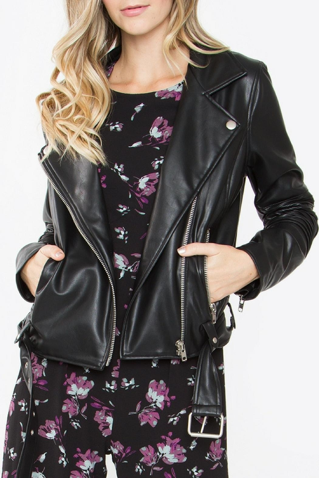Sugar Lips Black Leather Jacket - Front Cropped Image