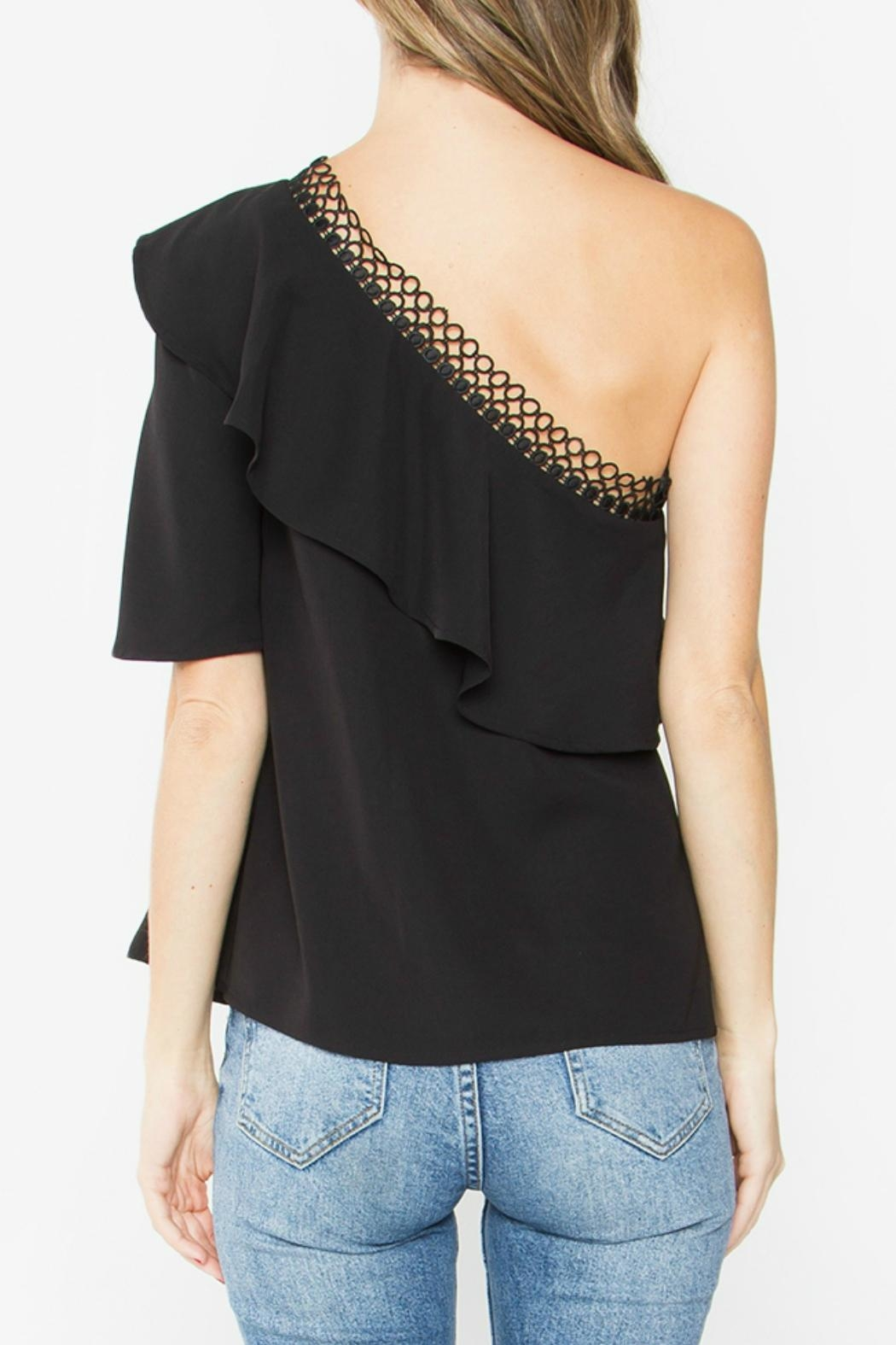 Sugar Lips Black One-Shoulder Top - Front Full Image