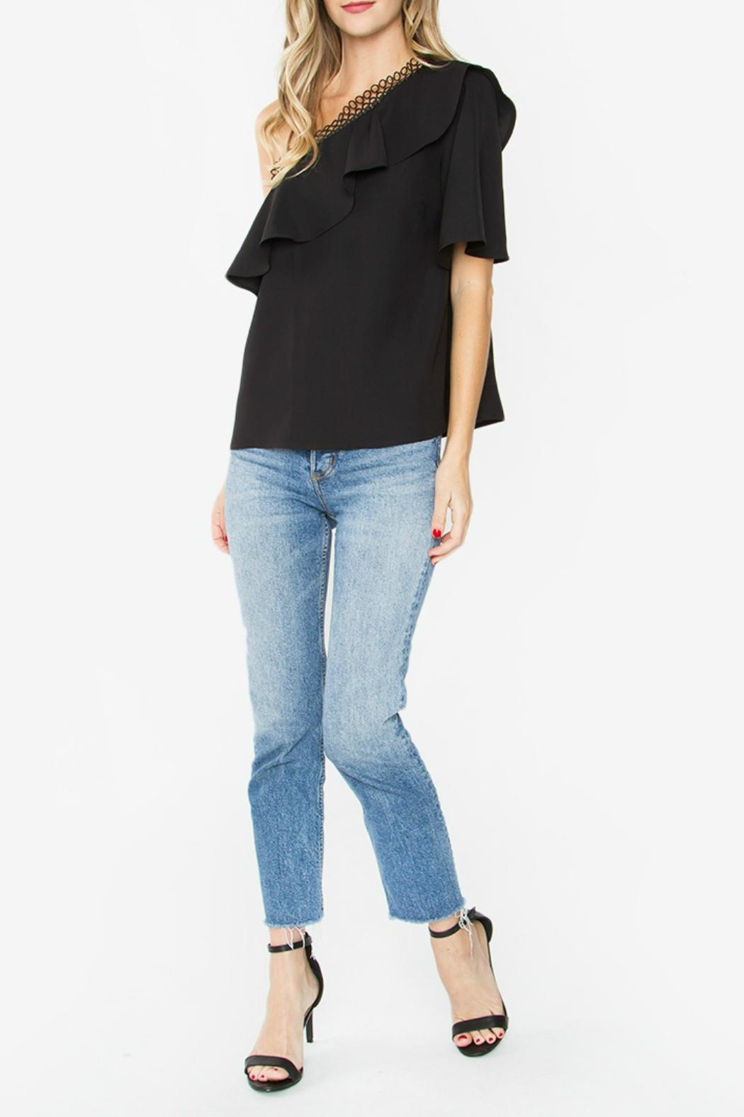 Sugar Lips Black One-Shoulder Top - Side Cropped Image