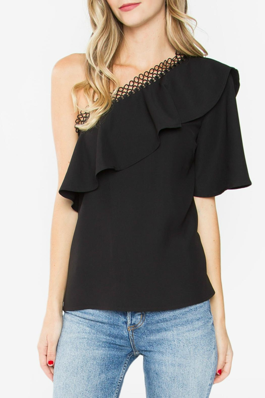 Sugar Lips Black One-Shoulder Top - Main Image