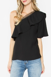 Sugar Lips Black One-Shoulder Top - Front cropped