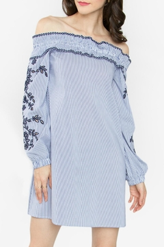 Shoptiques Product: Blue Off-The-Shoulder Dress
