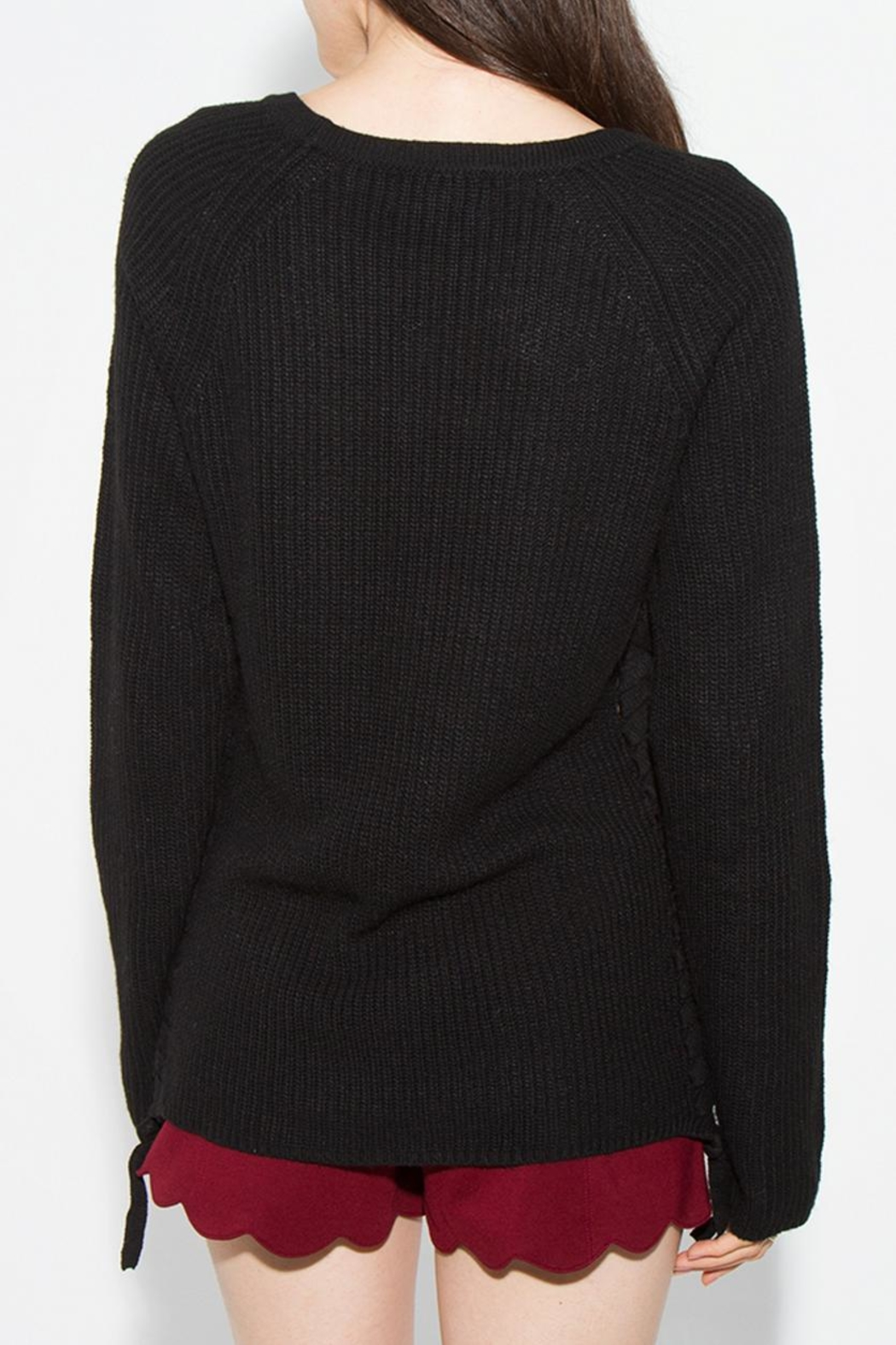 Sugar Lips Braided Side Sweater - Side Cropped Image