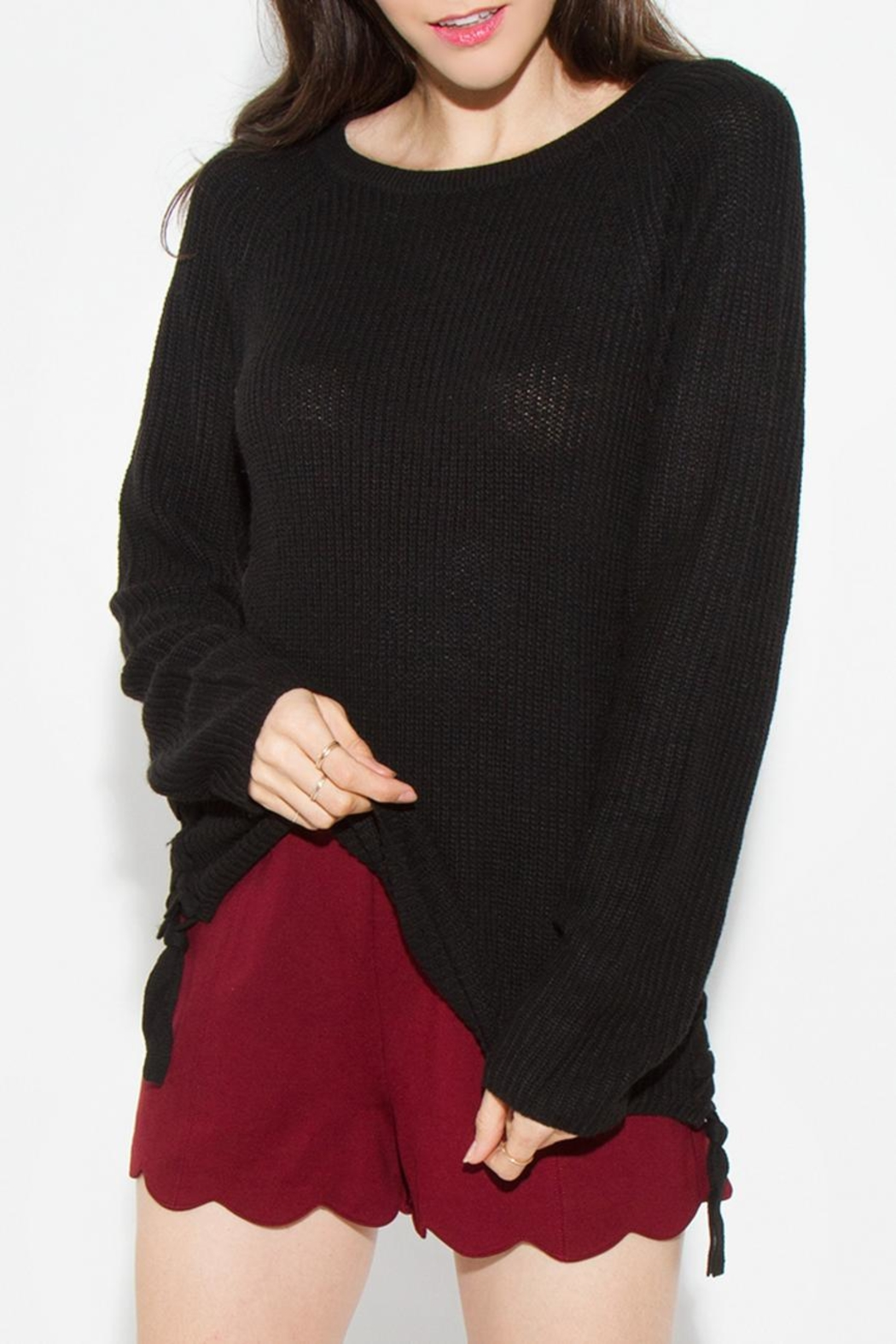 Sugar Lips Braided Side Sweater - Front Full Image