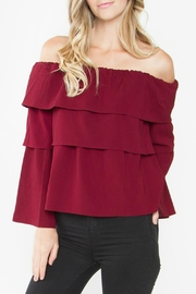 Sugar Lips Burgundy Off Shoulder Top - Product Mini Image