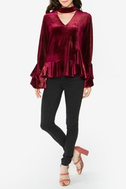 Sugar Lips Burgundy Velvet Choker Top - Front cropped
