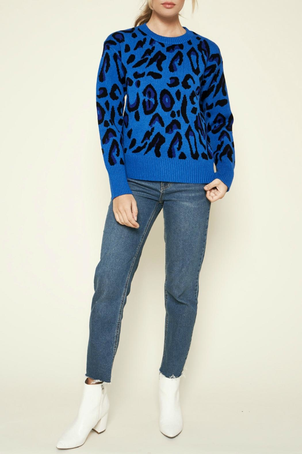 Sugar Lips Charmed Leopard Print Sweater - Back Cropped Image