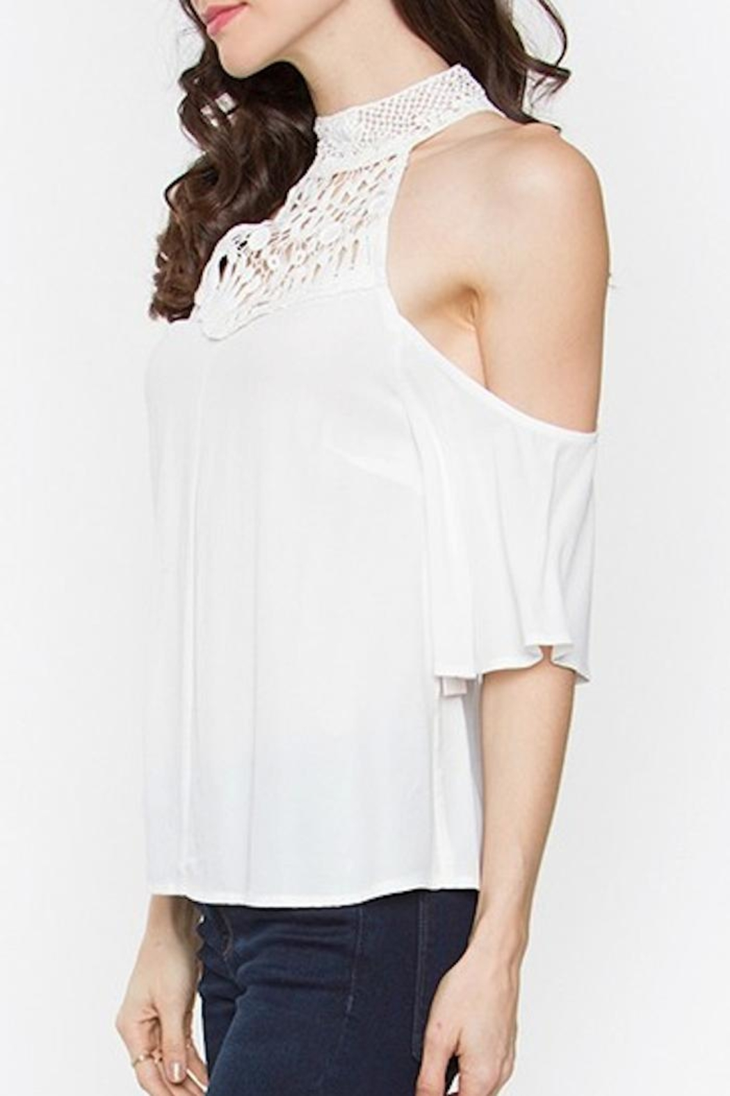 Sugar Lips Cold Shoulder Top - Front Full Image