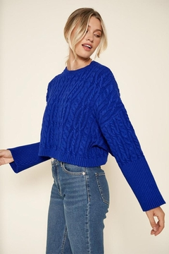 Sugar Lips Cropped Cable Sweater - Product List Image