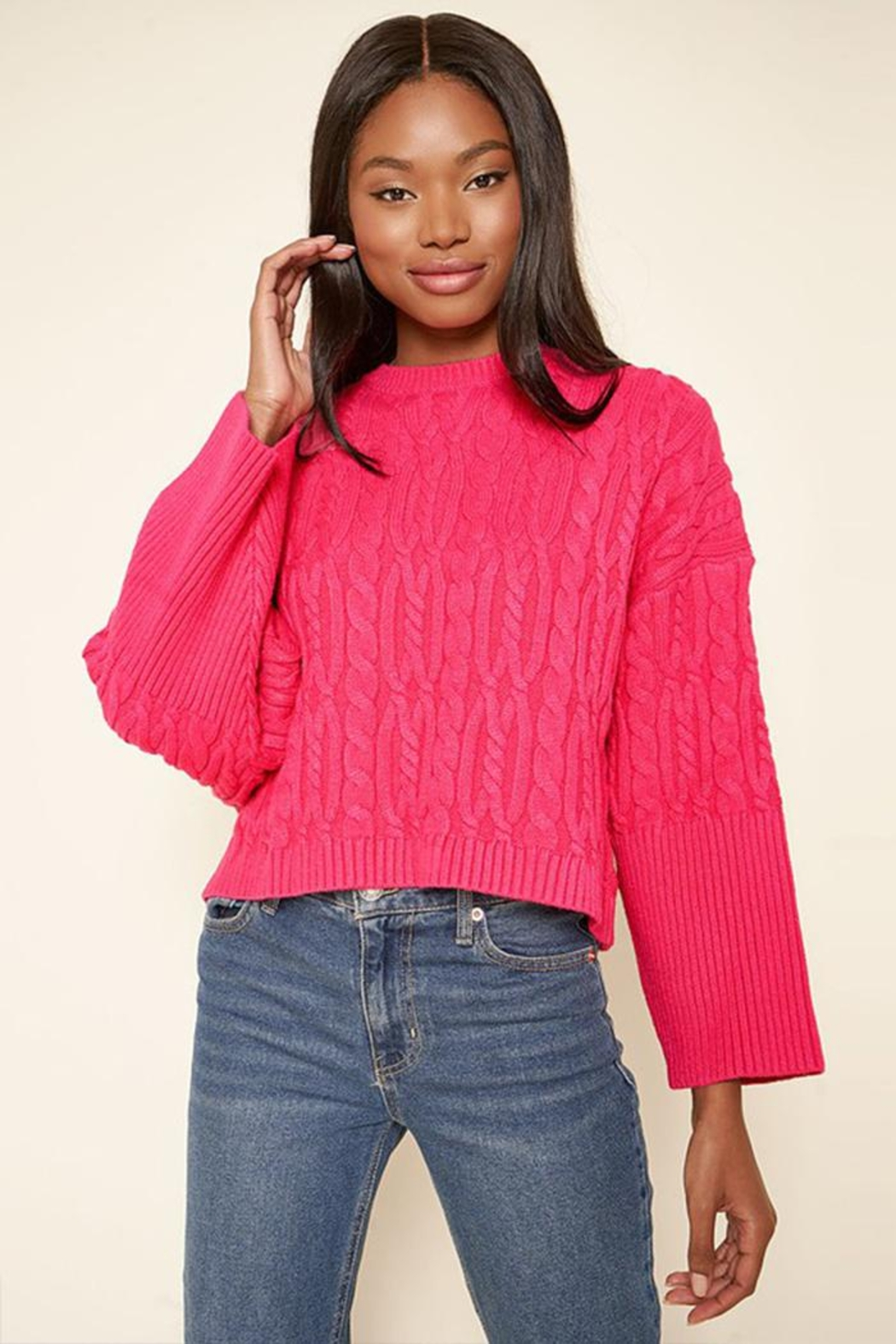 Sugar Lips Cropped Cable Sweater - Front Cropped Image