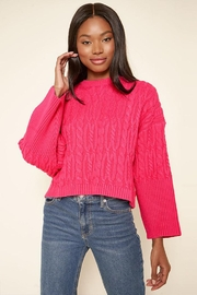 Sugar Lips Cropped Cable Sweater - Front cropped