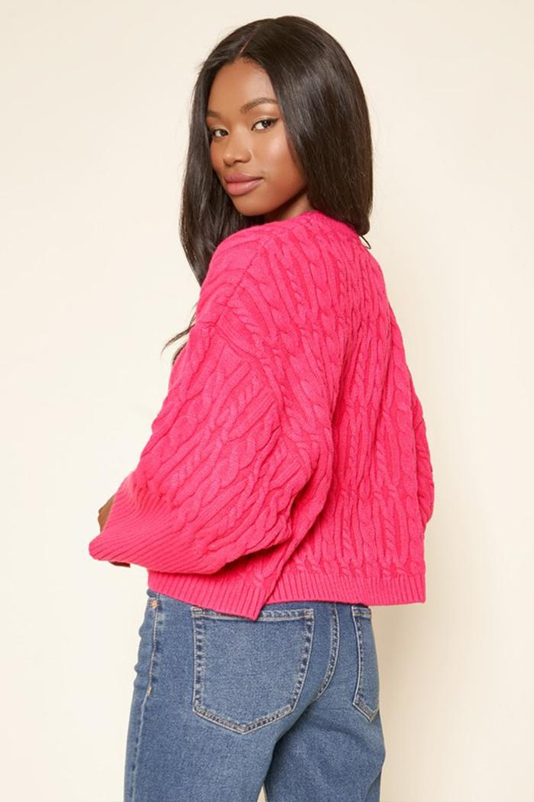 Sugar Lips Cropped Cable Sweater - Front Full Image