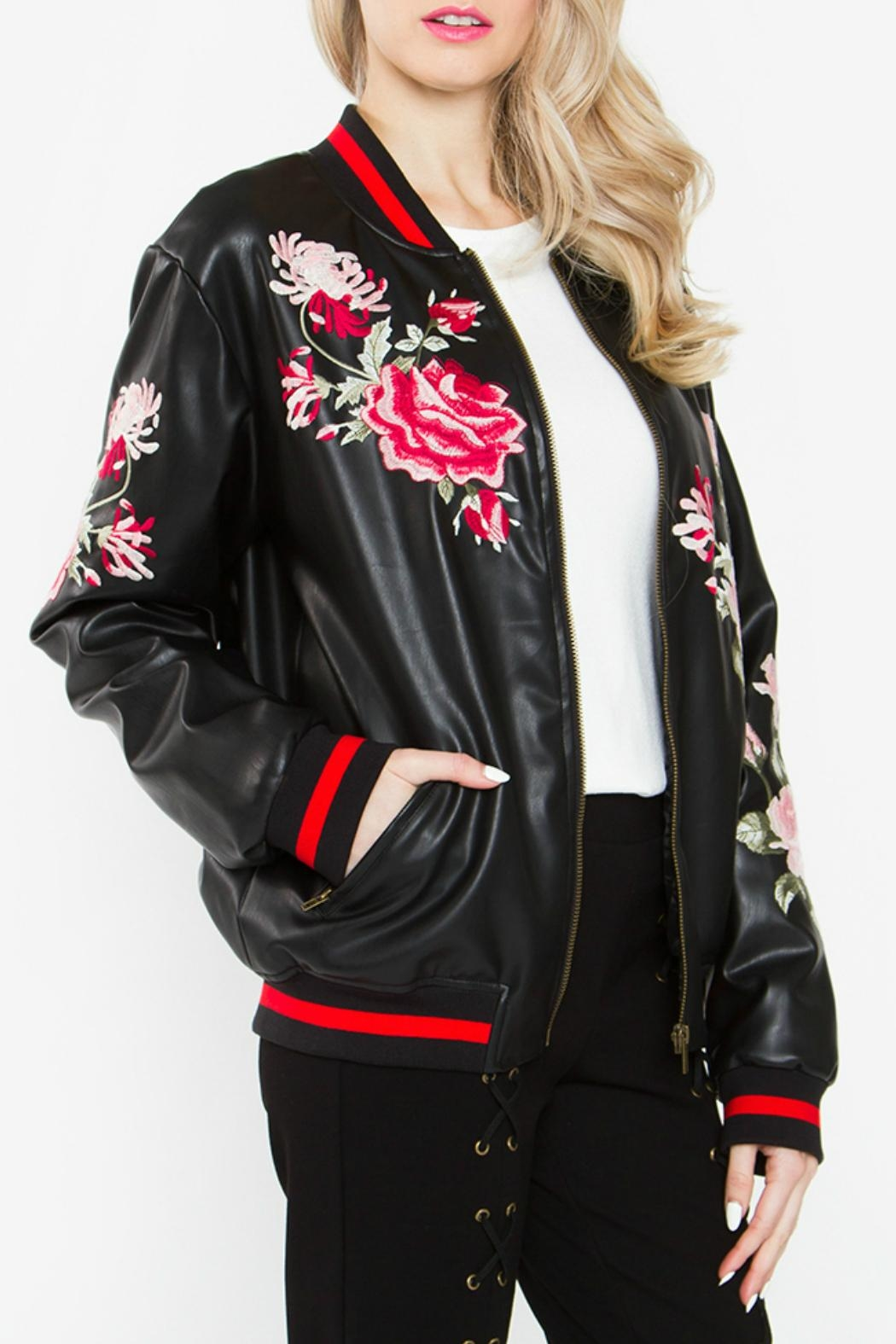 Sugar Lips Embroidered Bomber Jacket - Front Full Image