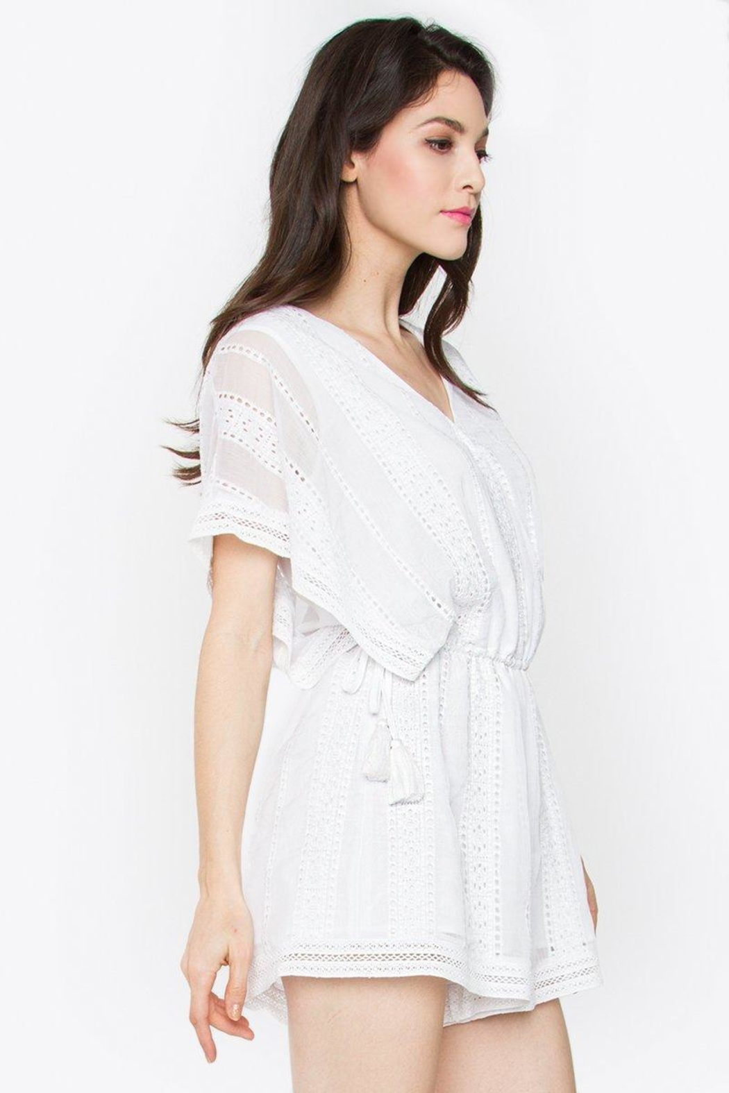 Sugar Lips Embroidered Crochet Romper - Side Cropped Image