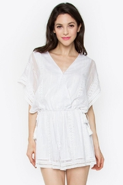 Sugar Lips Embroidered Crochet Romper - Front cropped